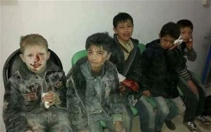 Children wounded by government barrel bomb, Syria